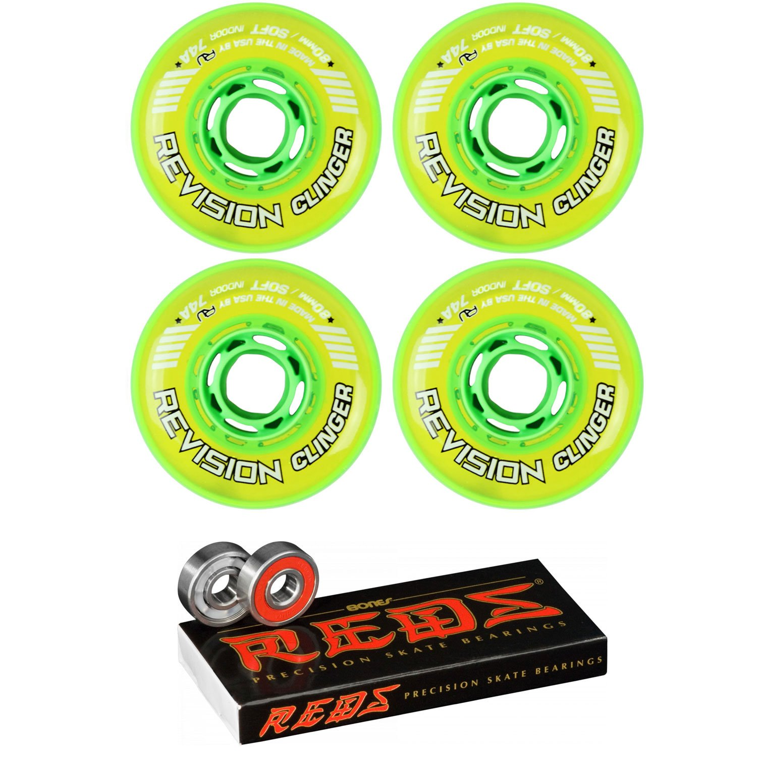 Revision Wheels Inline Roller Hockey Clinger 80mm 74A 4-Pack with Bones Bearings