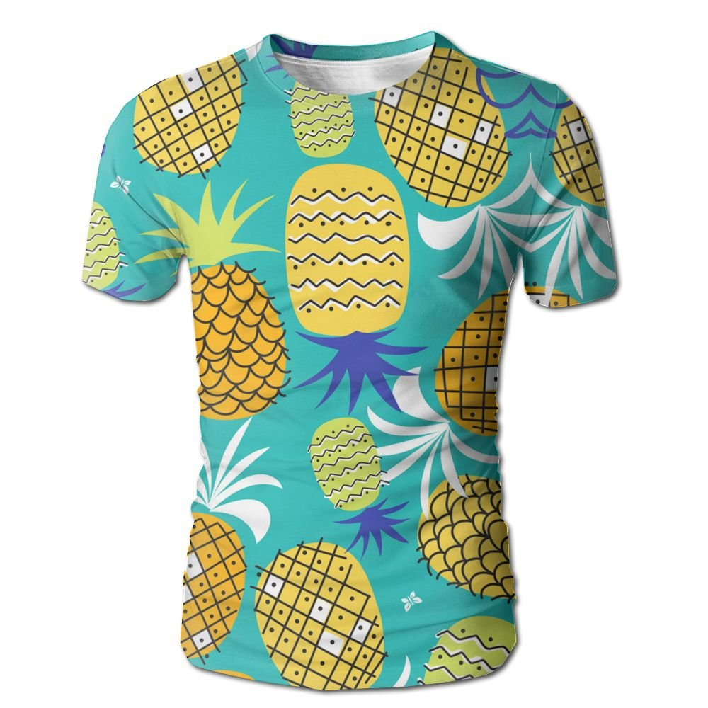 DONGFANGZHAN Men Short Sleeve T-Shirt Summer Pineapple Full Print Cool Tees Tops