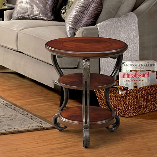 PH 1 Piece 26 Inch Brown Accent Table, Transitional Style Indoor Side Table Traditional Style Round Shaped End Table Sophisticated Delightful Design Filled Scroll Detailing Cherry Finish, Metal Wood