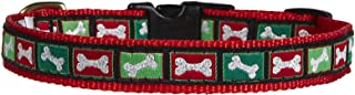 product image for Up Country Christmas Bones Pattern (Dog Collar Christmas Bones, Small (9 to 15 Inches) 5/8 Inch Narrow Width)