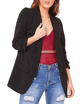 90d49ba74f3 Red Olives® New Ladies Frill Ruffle 3 4 Sleeve Duster Coat Women Jacket  Blazer UK 8-26  Amazon.co.uk  Clothing