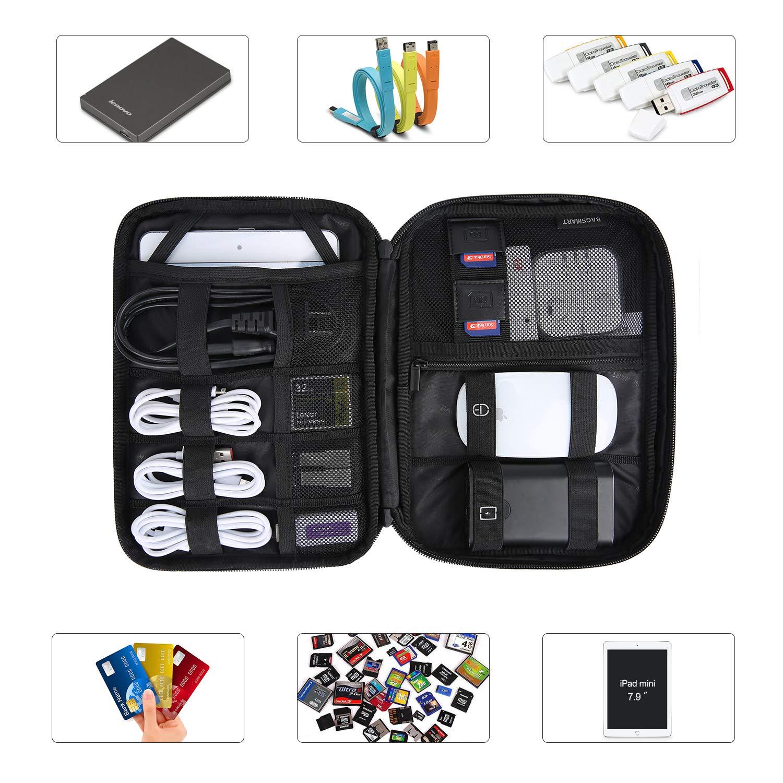 USB Chargeurs BAGSMART Accessoires Electroniques Sac de Rangement C/âbles pour C/âbles IPad Mini 7.9 Pouces Carte SD