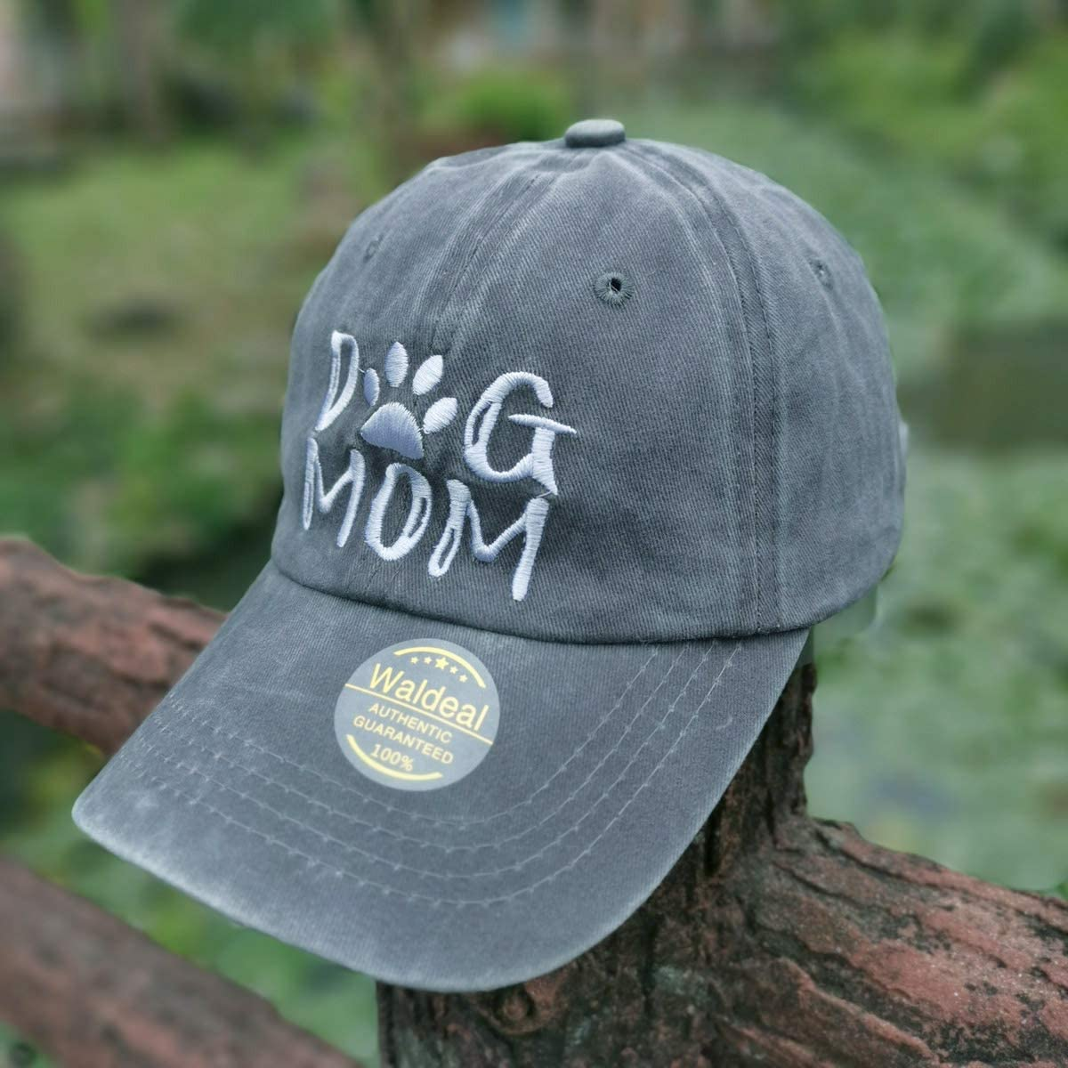 Waldeal Embroidered Women Dog Mom Ponytail Denim Dad Hats Dogs Paw Jeans Baseball Cap Gray