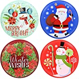 """Round Plastic Printed Resuable Christmas Food Storage Containers with Lids, 9"""" (Set of 4)"""