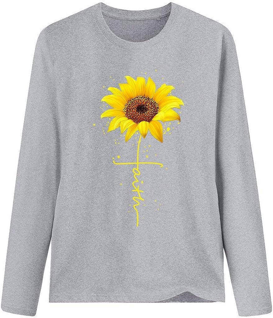 Women Fashion Plus Size Sunflower Print Round Neck Long Sleeved T-Shirt Blouse Tops Sweatshirt Pullover Gray