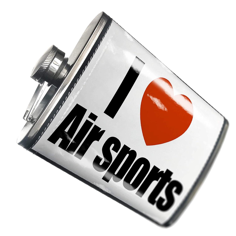8オンスフラスコステッチI Love Air Sportsステンレススチール – Neonblond   B00QQVGBV4