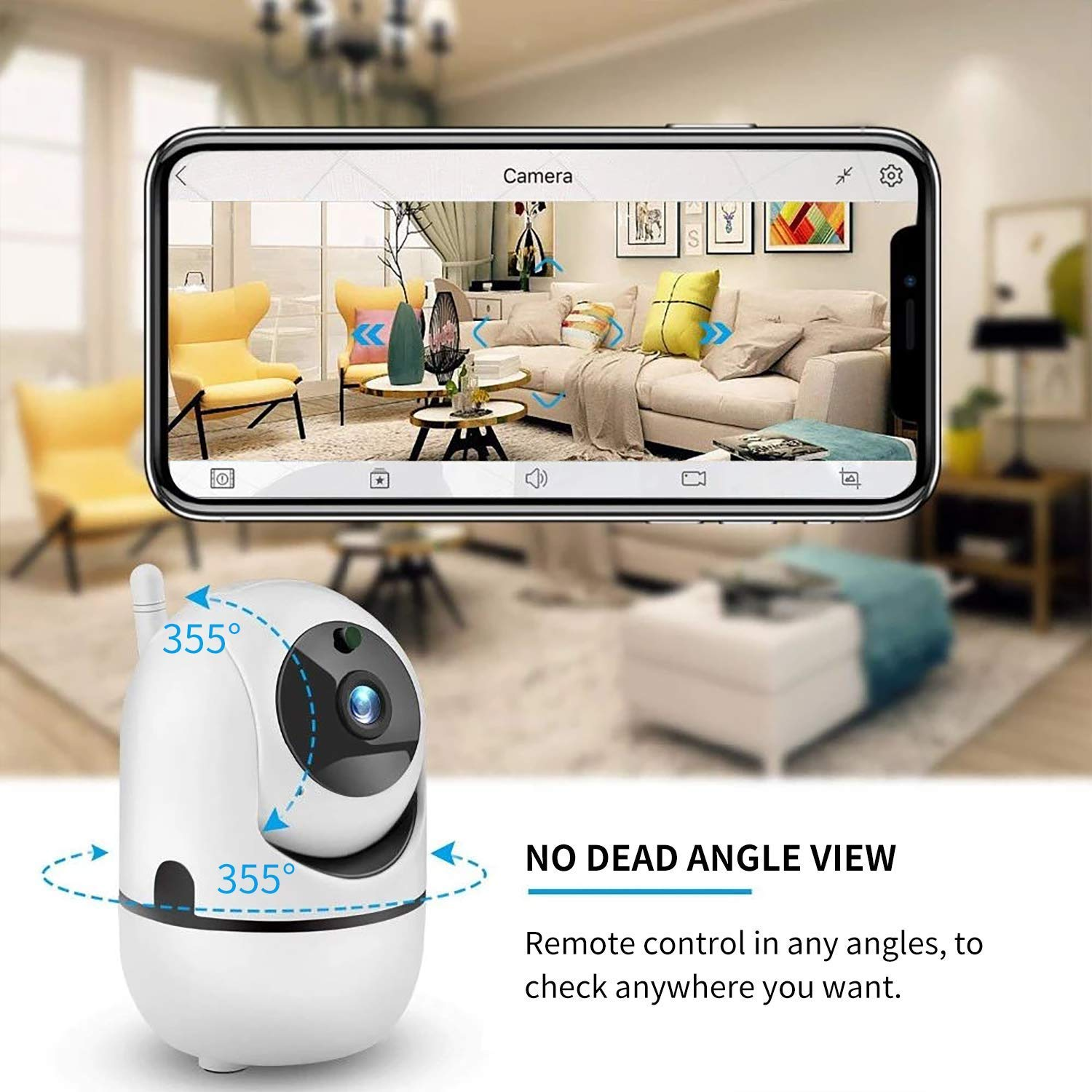 360 Degree Rotation Surveillance Cameras Indoor Wireless IP Camera Baby,Elder,Pet Monitor with Night Vision Support SD Card Motion Detection 2-Way Audio for Home//Office//Store App Remotely Cont Pan//Tilt//Zoom ANNA TOSANI WiFi Security Camera 1080P HD