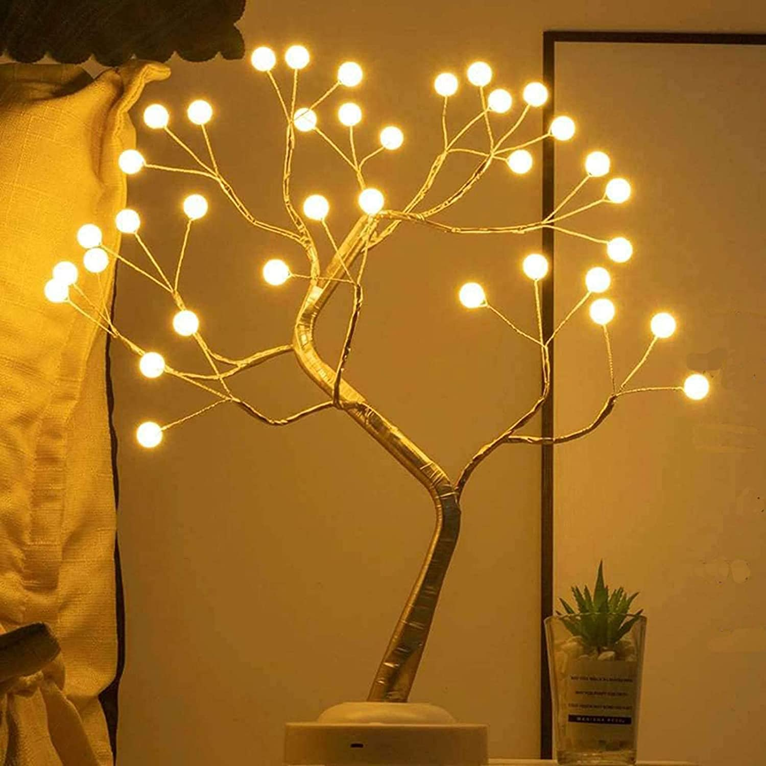 Lxcom Lighting LED Globe Lights 36 LEDs New Gold Copper Wire Tree Branches LED Bonsai Table Tree Lighted USB Battery Operated with Touch Switch Decorative Desk Lamp for Home Decor, Warm White