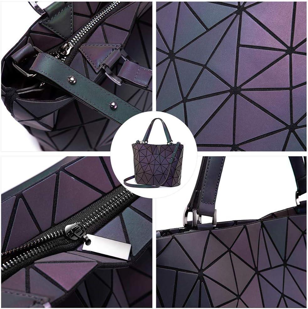 Bolso de mano geométrico, 3pcs set Bolso de hombro luminoso geométrico de la PU Bolso cruzado Bolso de embrague para mujer Conjunto de bolso