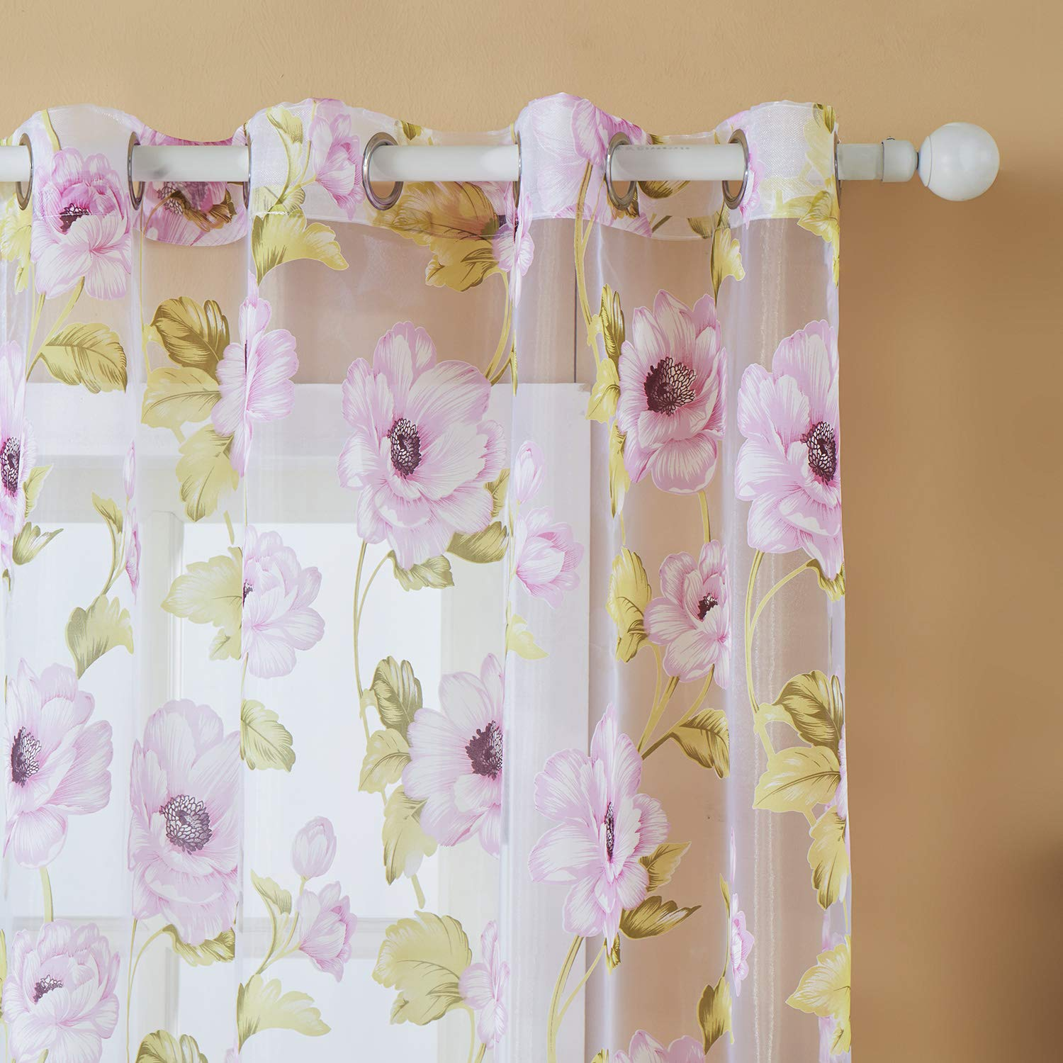 Top Finel Blooming Peony Voile Window Curtain Voile Net Panels For Living Room 54-inch Width X 84-inch Length,Grommets,Single panel,Brown