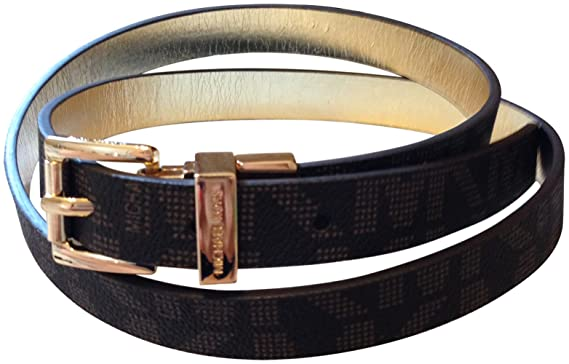 104957746623 Image Unavailable. Image not available for. Color  Michael Kors Womens Mk  Signature Logo Reversible Belt Large Brown