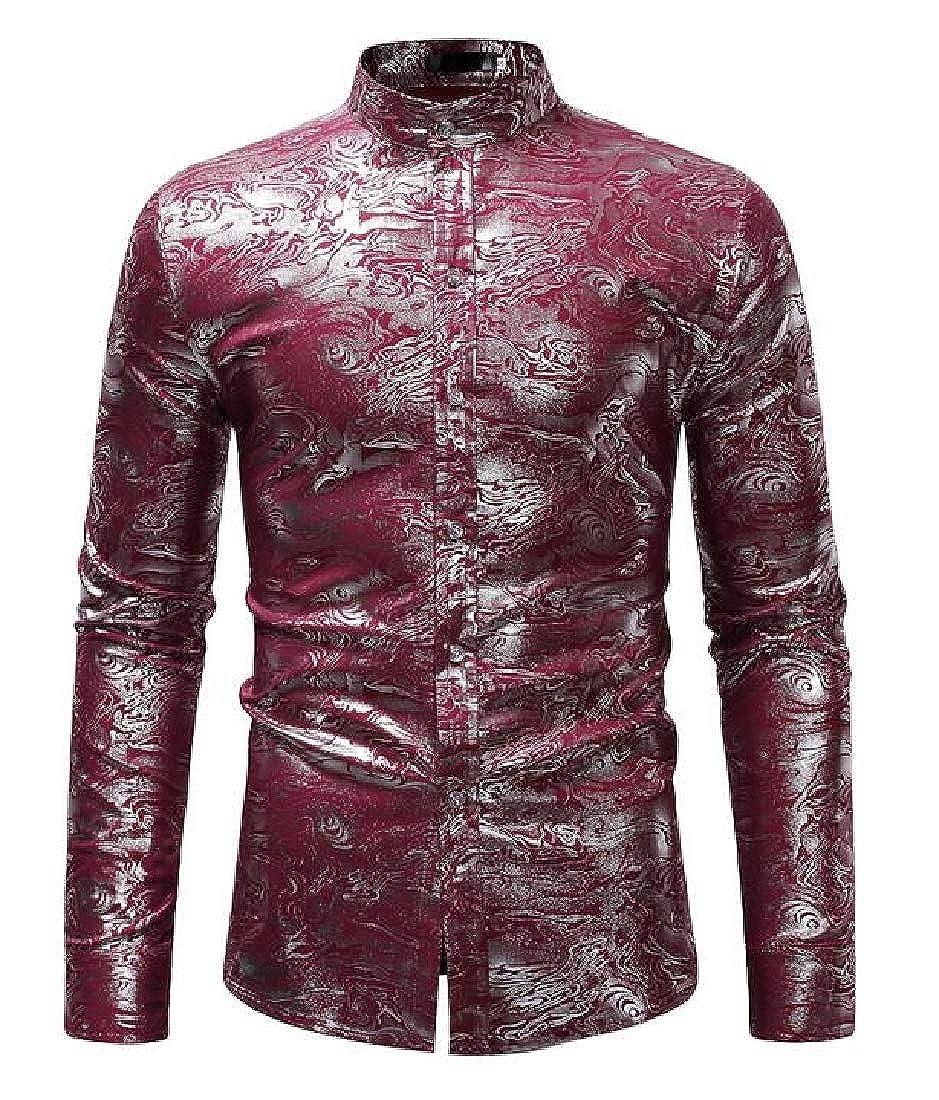 pipigo Men Stand Collar Slim Fit Formal Long Sleeve Button Down Dress Shirt