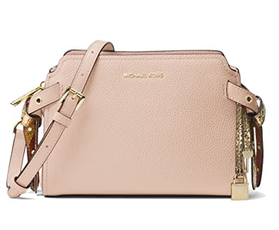 cb27303908e179 Amazon.com: MICHAEL Michael Kors Bristol Leather Messenger Bag, Soft Pink:  Shoes