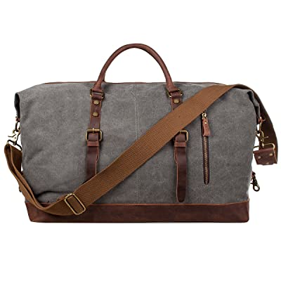 S-ZONE Oversized Canvas Genuine Leather Trim Travel Tote Duffel Shoulder Handbag Weekend Bag
