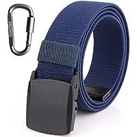 FEIKCOR Cinturones de nylon para hombre Cinturón - Cinturón de tela de níquel casual ajustable de lona con hebilla de plástico YKK