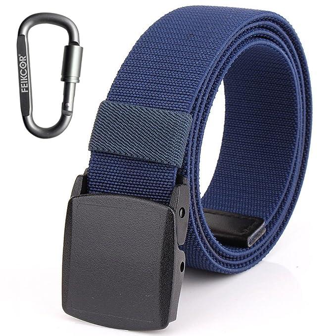 Cinturones de nylon para hombre Cinturón - Cinturón de tela de níquel casual ajustable de lona con hebilla de plástico YKK HCKqcP7R