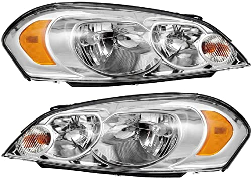 CHROME+CLEAR REFLECTOR HEADLIGHTS LAMPS FIT 06-13 CHEVY IMPALA//06-07 MONTE CARLO
