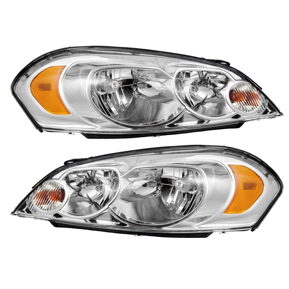 Passenger and Driver Side Partsam Headlight Headlamps Assembly Replacement for Chevy Impala 06 07 08 09 10 11 12 13//Chevy Monte Carlo 06 07 Left Right Chrome Housing Amber Reflector Clear Lens Lamp