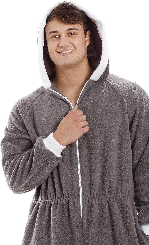 weiches Fleece-Material Grau Rei/ßverschluss vorne Herren Schlafanzug-Overall mit Kapuze