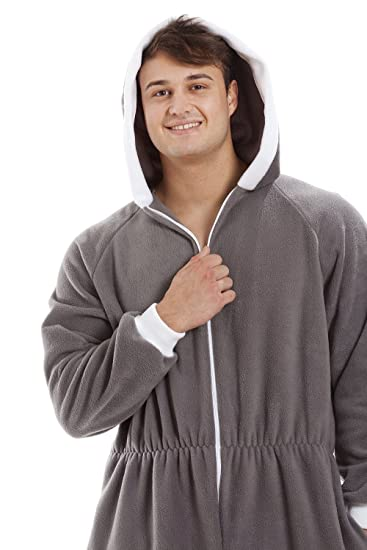 Camille Mens Gray Supersoft Fleece Zip Front Hooded Onesie at Amazon Mens Clothing store: