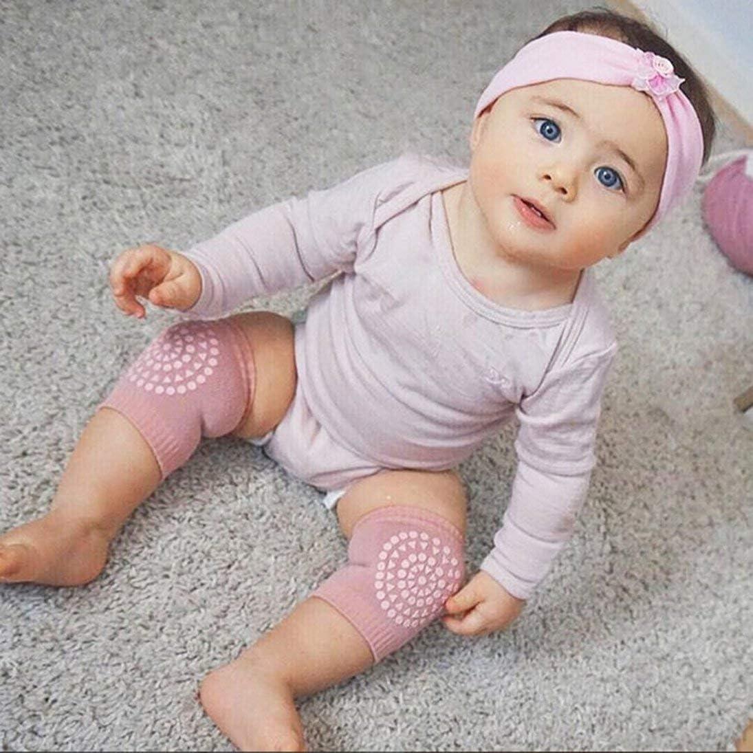 hellrosa XINFULUK Kleinkind Kinder Knieschoner Protector Verdickt Terry rutschfeste Sicherheit kriechende Baby Beinlinge Kniesch/ützer Unisex f/ür Kinder