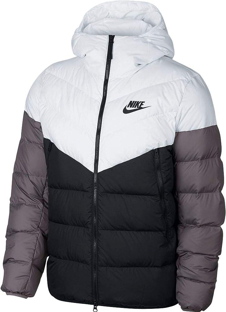 falso trabajador Prisionero  Amazon.com: Nike Sportswear Windrunner Down Fill - Chaqueta con capucha  para hombre (talla L), color blanco, negro y gris: Clothing