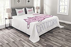 Ambesonne Unicorn Cat Bedspread, Pink Cat with a Horn and Funny Expression Lying Caticorn Cartoon Mascot, Decorative Quilted 3 Piece Coverlet Set with 2 Pillow Shams, Queen Size, White Lilac