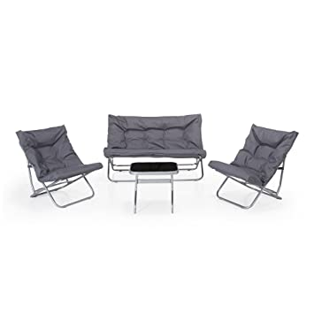 Shrink Salon de jardin 4 éléments gris Gris clair - Alinea .: Amazon ...