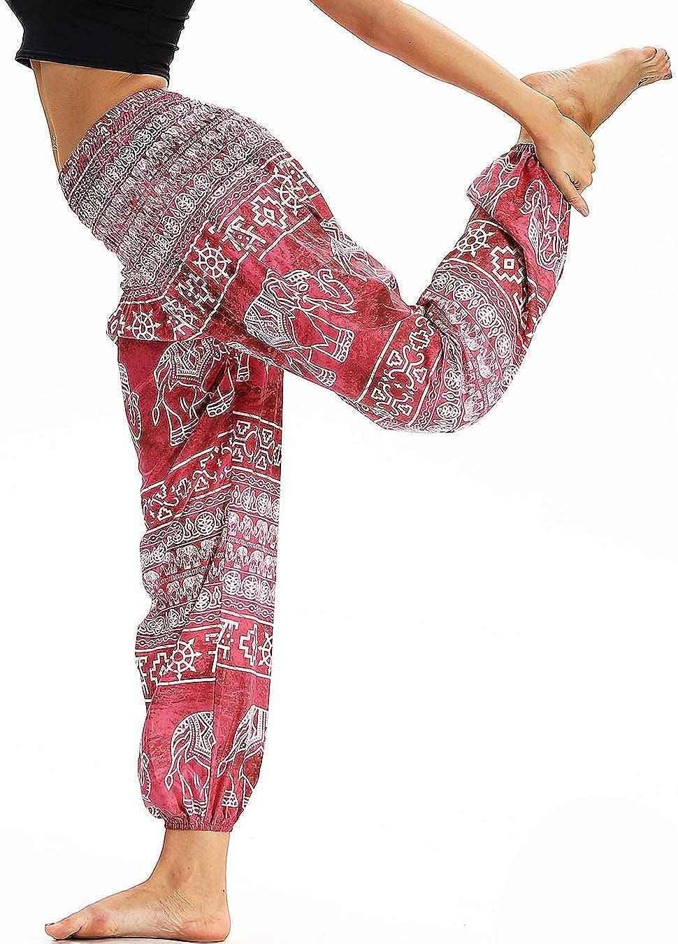 Nuofengkudu Mujer Pantalones Hippies Tailandeses Estampado Verano Cintura Alta Elastica con Bolsillos para Yoga Casual