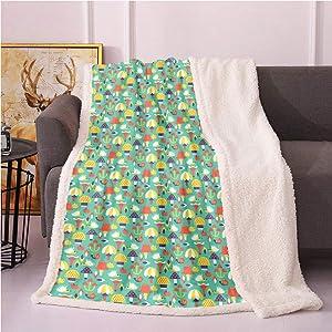 Mushroom Sherpa Fleece Blanket,Continuous Composition of Hedgehog Apple Snail Cartoon Print Digital Printing Blanket,Sherpa Plush Blanket(50in x 60in,Dark Seafoam and Multicolor)