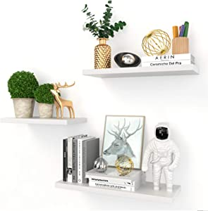 RUNACC White Floating Shelves for Wall - Set of 3 Wall Mounted Wood Shelves Home Decor Display Storage Rack with Invisible Brackets for Living Room Bathroom Bedroom Office Kitchen