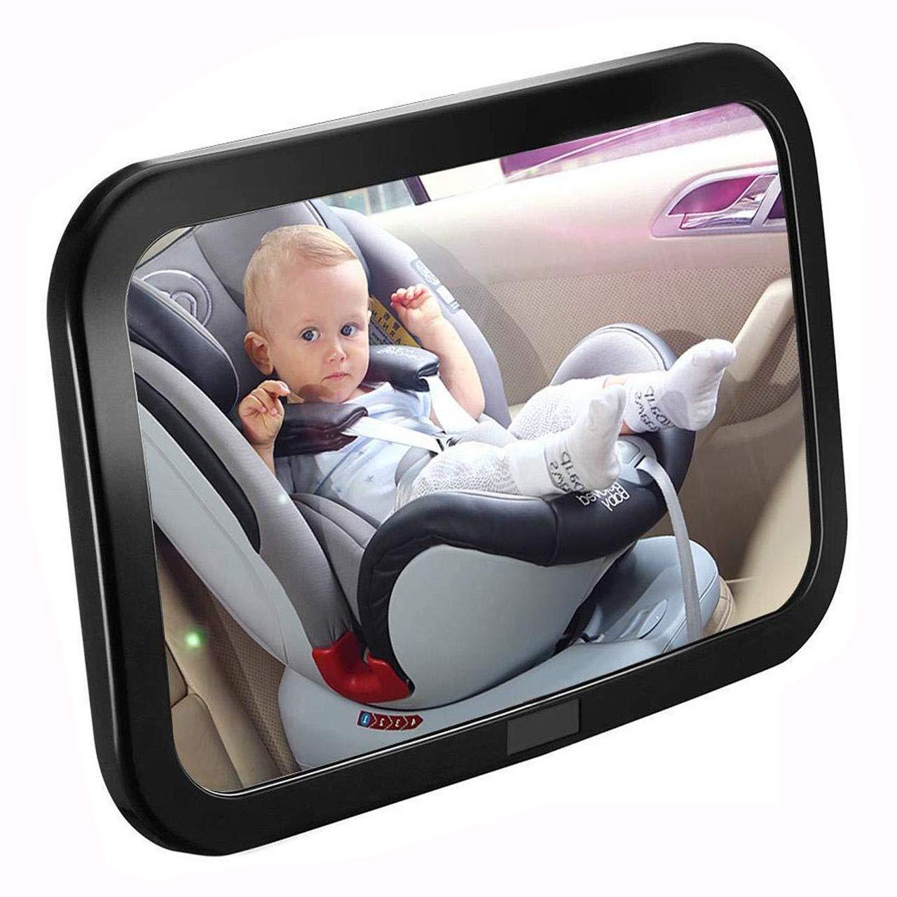 Bever Espejo Retrovisor Coche de Bebé para Vigilar al Bebé en Coche, 360° Ajustable Irrompible Interior Espejo para Silla Trasera, Espejo Coche Bebe Asientos de Niños Orientados hacia Atrás