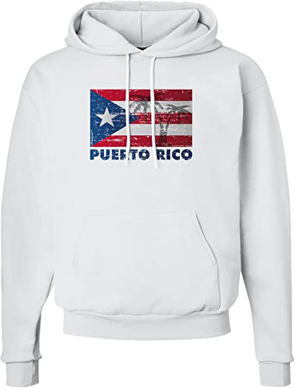 TOOLOUD Distressed Puerto Rico Flag Hoodie Sweatshirt