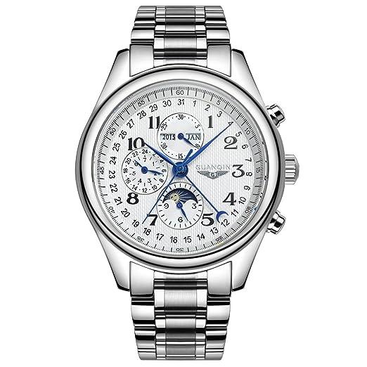 GUANQIN marca nueva Totalmente automático Suiza Calendario Reloj de los hombres de negocios de la tira de, harina: Amazon.es: Relojes