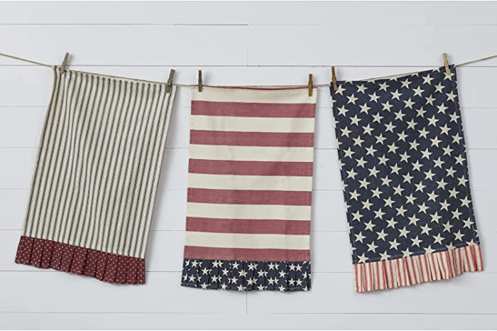 Set of 3 Vintage Cotton American Flag Decorative Tea Towels - Red White and Blue Patriotic Americana Farmhouse Country Kitchen Decoration - Decorative Ruffled Bathroom Hand Towel - Dish Cloth Decor