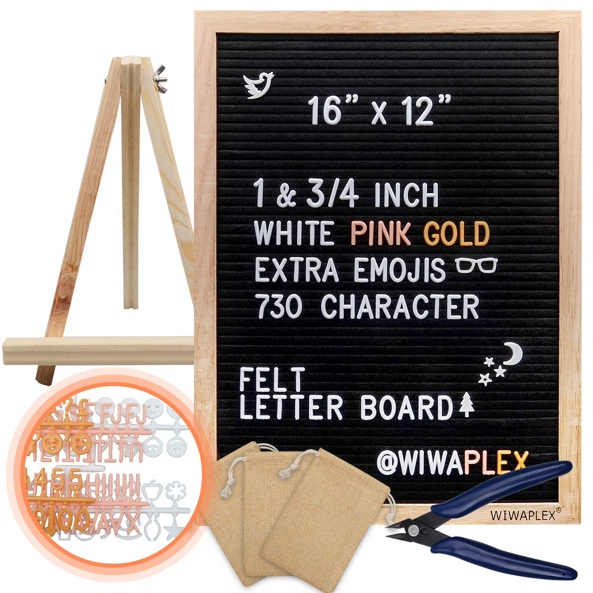 WIWAPLEX Black Felt Letter Board, Word Board Sign, 16 x 12 inch Changeable Letter Board with 730 Plastic Message Board Letters Numbers Symbols Emoji, Wooden Tripod Stand, Scissors, 3 Free Storage Bags