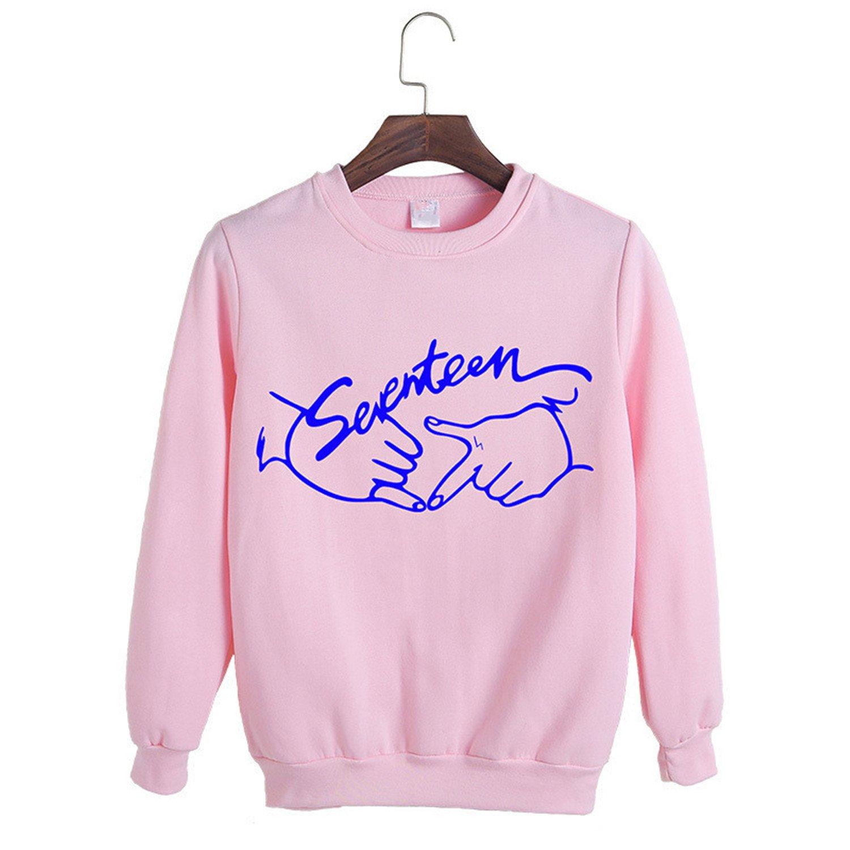 Alaimc Mando 2017 Spring Kpop Seventeen Concert Same Printing O-Neck Sweatshirt Pullover Moletom Thin Hoodie