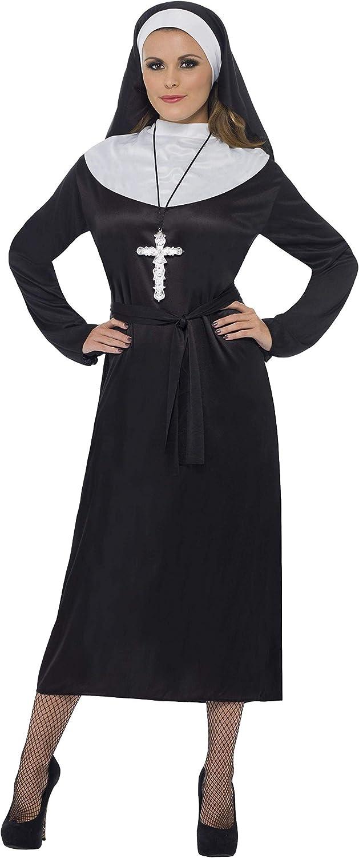 Smiffys-20423L Disfraz de Monja, con Vestido y Velo, Color Negro, L-EU Tamaño 44-46 (Smiffy'S 20423L)