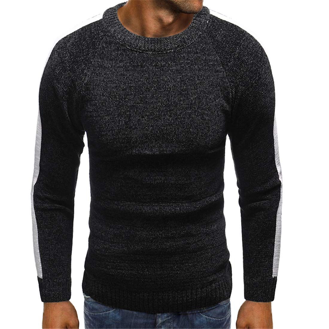 JXG Men Crew Neck Contrast Stripes Knitted Sweaters Pullover Jumper