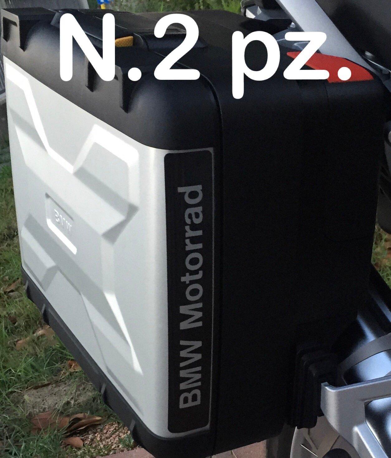 N.2 pz. RIFRANGENTI REFLECTIVE BMW MOTORRAD STICKERS ADESIVI NERO BLACK VARIO BAGS THE1200STICKERS