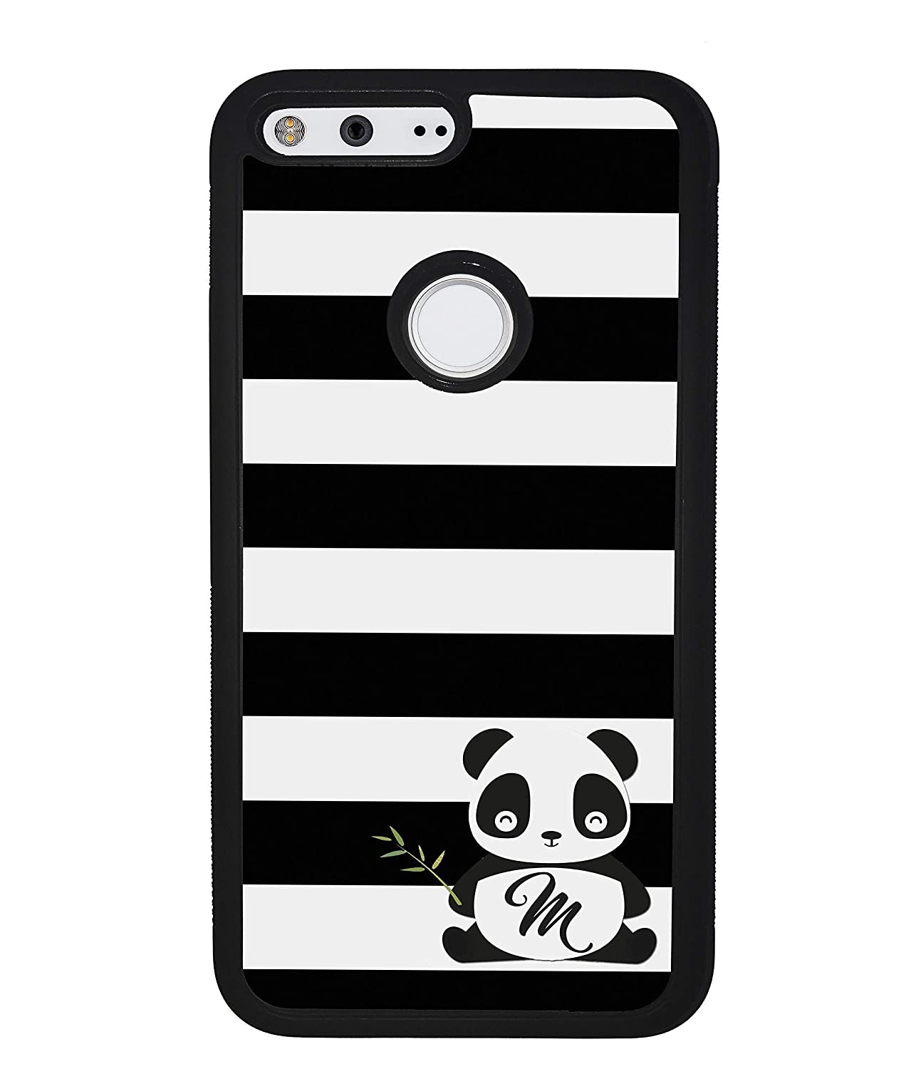 3a Google Pixel 4a Google Pixel 2 2XL 3a XL 4 XL Google Pixel 3 Google Pixel 3 XL Black and White Bars Panda Personalized Google Pixel Black Rubber Phone Case Compatible With Google Pixel 5