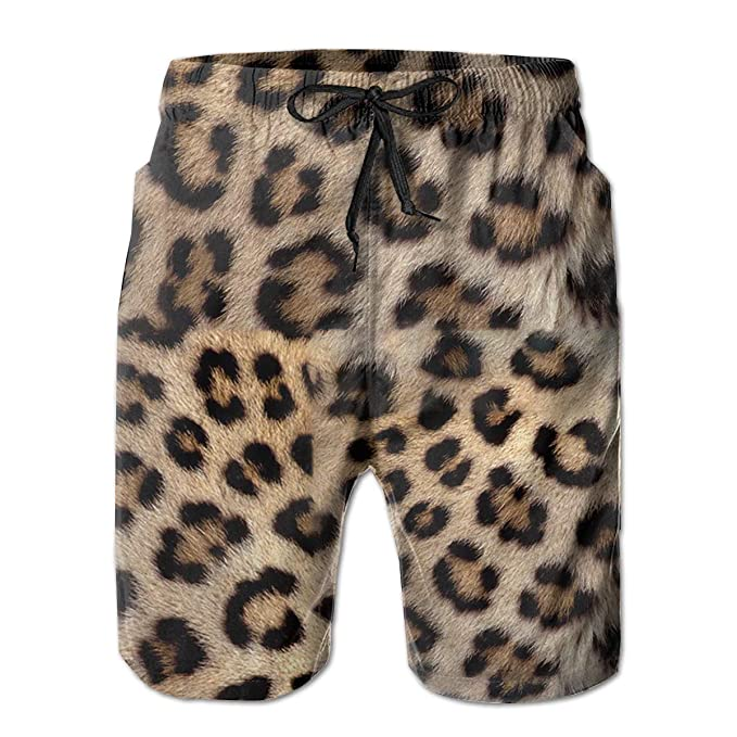 7fd5190284 Animal Print Leopard Mens Beach Boardshort Summer Casual Workout Pants with  Pockets Men