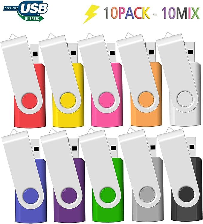 Memoria USB 2GB 10 Unidades, JBOS 2GB Memoria Flash USB 2.0 10 Piezas, Pendrive 2GB, 2 GB, Multicolor: Amazon.es: Electrónica