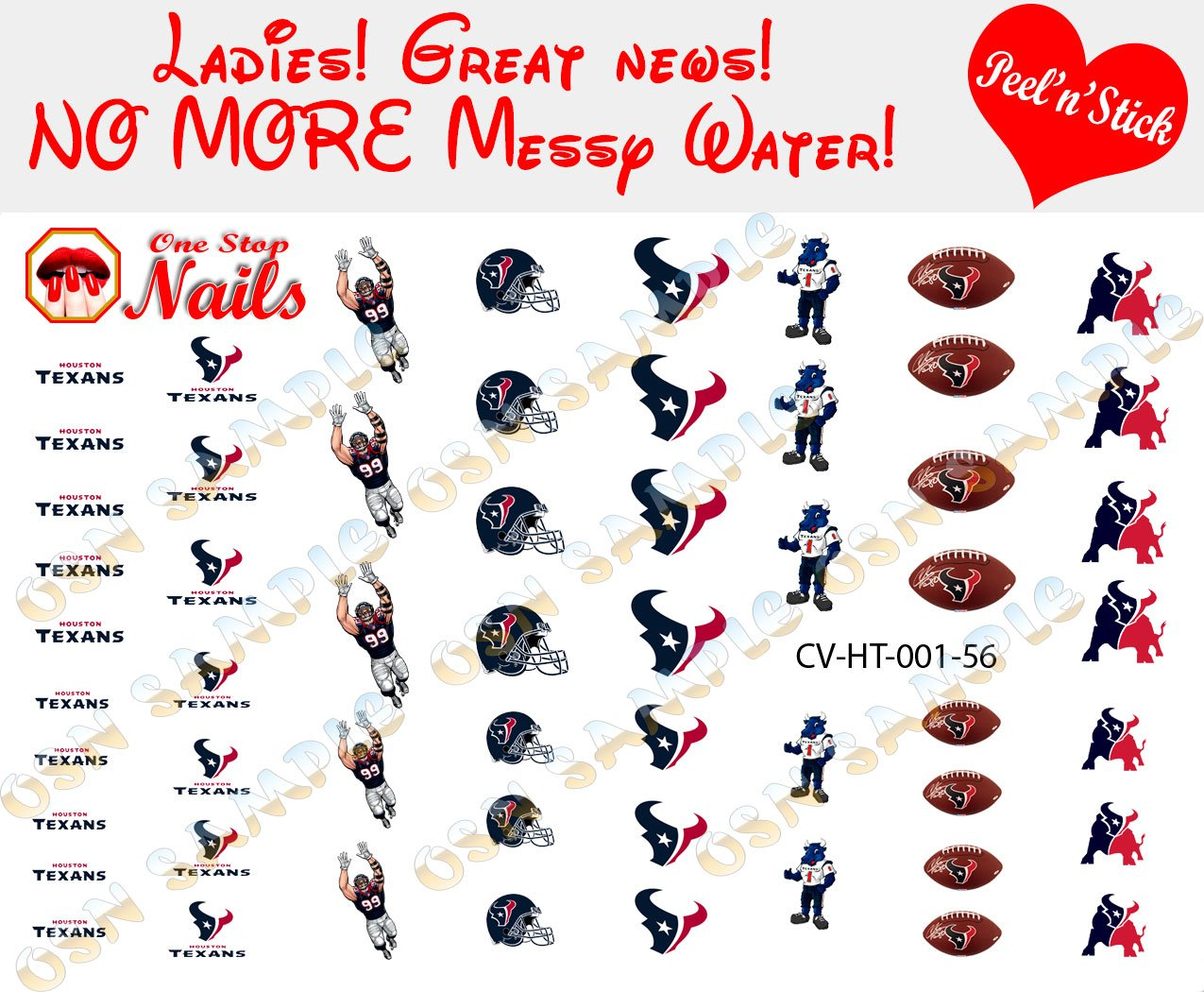 Houston Texans Clear Vinyl PEEL and STICK Nail Decals NOT WATERSLIDE ...