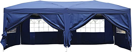 Outsunny Carpa 6x3m Plegable en Acordeon 4 Paneles Laterales 2 Cortinas +Bolsa Transporte Azul: Amazon.es: Jardín
