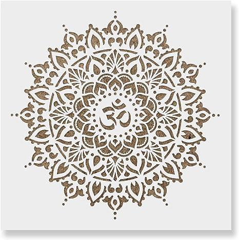 Mandala Stencil reusable Painting Custom sizes Lotus art supply Om pochoir