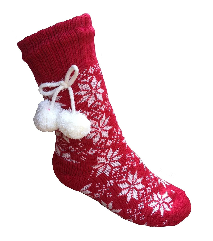 Ladies Girls Nordic Design Lined Slipper Socks with Pom Pom