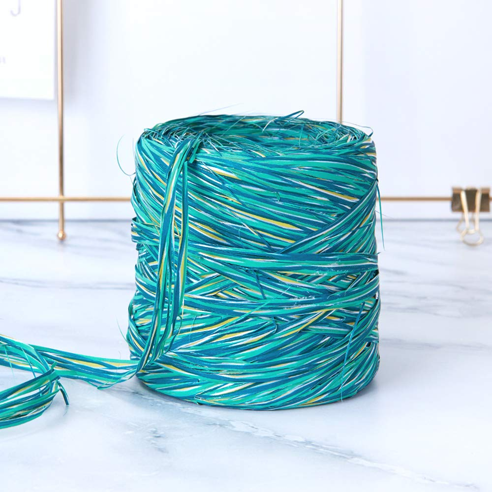 Holiday Colored Paper Raffia, 200 Meters / 218 Yards by Funbou