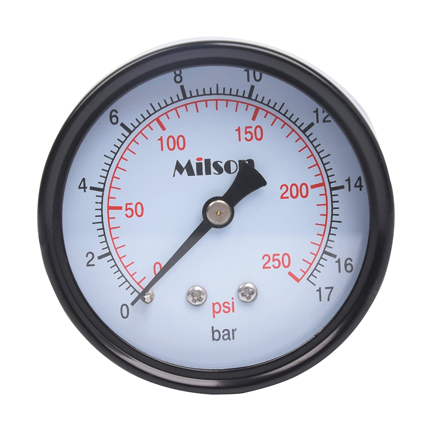 Milson Pressure Gauge 2.5 Black Steel Case Back Mount 1 4NPT 0 250 Psi Bar Accuracy 2.0 Brass Internal Multiple Function