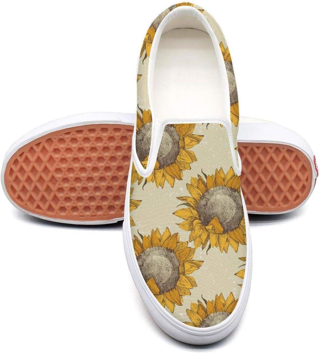 Vintage Sunflowers Classic Canvas Shoes Slip On Skate Sneakers Women Fashion Print Original Durable